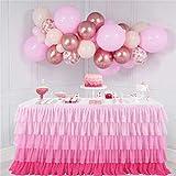 ETbotu Chiffon-Tischrock mit 5 Schichten, gewellt, für Hochzeit, Party, Farbverlauf, Pink, 183 cm