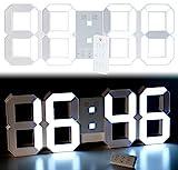 Lunartec LED Uhr Schlafzimmer: Digitale XXL-LED-Tisch- & Wanduhr, 45 cm, dimmbar, Wecker,...