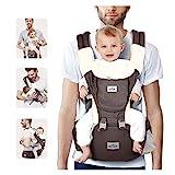 SIMBR Babytrage Ergonomisch Mit Sitz für Die Hüfte, 12 Positionen,100% Baumwolle, Multifunktional,...