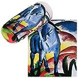 VON LILIENFELD Brillenetui Franz Marc Blaues Pferd Kunst Brillenputztuch Brillenbox Stabiles...