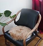 HEITMANN runde Sitzauflage aus australischen Lammfellen, Fellkissen rund Camel, Ø ca. 45 cm,...