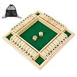 Siebwin Shut The Box 10er, 4-Spieler Würfelspiel Holz Brettspiel Klappenspiel Board Spielzeug Holz...
