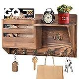 ANVAVA Wandorganizer mit Ablage aus Holz, Wand Schlüsselbrett mit 3 Doppelhaken & 3 Einzelhaken,...