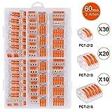 60 Stck Verbindungsklemme,Verbindungsklemme Set,3 verschiedene Typen Steckklemmen,Klemmen...