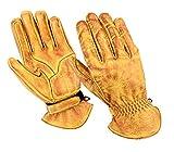 BOSmoto Motorrad Handschuhen Racing Kevlar gewachst Leder Handschuhe Wachs (L, Wachs Beige)