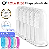O³ Fingerzahnbürste Baby // 6 Stück mit Transportboxen // Aus BPA-freiem Silikon // Finger...