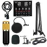 WBJLG Kondensatormikrofon-Bundle, BM-800-Mikrofon-Kit mit Live-Soundkarte, Mini-Sound-Mixer-Board...