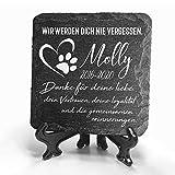 TULLUN Individueller Personalisiert Tiergrabstein Schiefer Gedenkstein + Ständer für Hund, Katze...