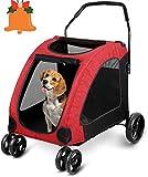 amzdeal Hundewagen Pet Stroller, Faltbarer Hundebuggy mit 4 Eva-Rädern, festem und atmungsaktivem...
