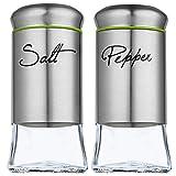 KADAX Salz- und Pfefferstreuer Set, 2-teilig, 150 ml, Streuer aus Glas und Edelstahl,...