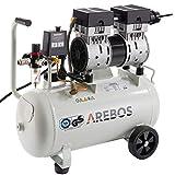 Arebos Flüsterkompressor | Kompressor | 24 Liter | 800 W | ölfrei | Ansaugleistung 120 L/min |...