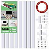 Kabelkanal Selbstklebend Weiss, 320cm PVC Kabelabdeckung, Kabelschacht zum verstecken von Kabel, TV...