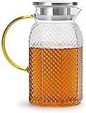Teekanne Liter Glaskaraffe mit Deckel Eistee Krug Wasserkrug für heißes und kaltes Wasser Karaffe...