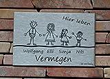 Familienschild /Namensschild / Türschild in Edelstahl gebürstet, 120x80 mm, selbstklebend oder mit...