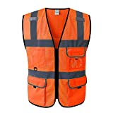 WUIO Hi Vis Viz Hohe Sichtbarkeit Reflektierende Sicherheitsweste Arbeitskleidung Executive Weste...