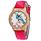 Veyikdg Damen-Armbanduhr, modisches Design, rundes Zifferblatt, Lederarmband, analog, Quarzuhrwerk,...
