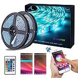 Bluetooth LED Streifen, ALED LIGHT 10M (2x5m) 32,8Ft Wasserdicht IP65 RGB 5050 300(2x150) LED...