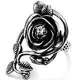 OIDEA Vintage Edelstahl Ringe, Rose Blume Rebe Ehering Damen Frauen Verlobungsring, schwarz Silber -...