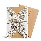 wishmade Laser geschnitten Hochzeit Einladungen tonkartons Elfenbeinfarben Retro Lace Blumen...