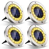 Solarleuchten für Außen Garten Deko, VIRIDI 4 Stück 16 LED Flache Solarlampen mit Warmweißen...