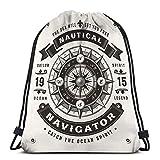 Lsjuee Mann Frauen Kordelzug Tasche Leichte Vintage nautische Navigator Typografie ein Farbetikett...