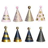 Partyhüte Geburtstag, 8 Stück Partyhüte Party Kegel Hüte, Pailletten Point Partyhüte Geburtstag...
