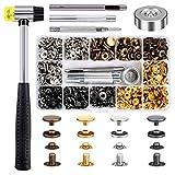 Qfun Druckknopf Set mit Zange, 120 Set Kupfer Druckknöpfe Metall Bronze Kleidung Snaps Taste mit...