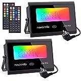 Novostella RGB Strahler 20W 2er-Set, LED Strahler Mit 44-Taste Fernbedienung 20 Farben 6 Modi, RGB...