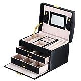 DCCN Schmuckkasten Elegant PU Leder Schmuckkoffer Schmuckschatulle Kosmetikkoffer mit 2 Schubladen...
