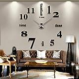 zsfzsf Wanduhr Leuchtende Wanduhr große Uhr Uhr 3D DIY Acryl Spiegel Aufkleber Quarz Moderne...