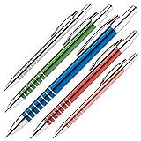 5 Kugelschreiber / aus Metall / Farbe: je 1x blau, rot, grau, grün und orange