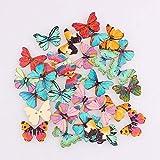 Hübscher Schmetterling gemischt 2-Loch-Holzknöpfe Weihnachten DIY Dekor Kinderkleidung Nähen...