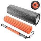 Sportout Faszienrolle Set, 3 in 1 Schaumstoffrolle, Massagerolle Yoga-Stange fördert Durchblutung &...