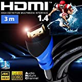 HDMI-Kabel 1.4 3 m UHD HDR 3D 1080p 4K High Speed Ethernet Arc PS3 PS4 Xbox HD TV 3D Blu-Ray Full HD...