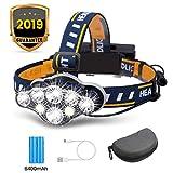 OUTERDO Stirnlampe superheller, Kopflampe 8 LED 8 Modi 13000 LM mit Warnleuchte,Stirnleuchte USB und...