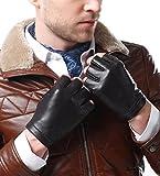 NappaNovum Fingerlose Motorradhandschuhe für Herren, Nappaleder, Seidenfutter, Halbfinger, Fahren,...