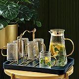 GFF Wassergläser Trinkglas Wohnzimmer Desktop-Kessel European Style Tea Cup Set Ablass Rack + Tray...