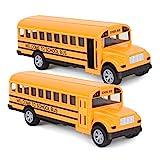 Think Wing Bus Spielzeug für Kinder, 13 cm Druckguss Schulbus Spielzeugautos gelben Bus Spielzeug...