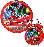 alles-meine.de GmbH 2 TLG. Set Wanduhr & Wecker -  Disney Cars - Lightning McQueen - Nitro  - incl....