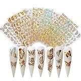 3D Design Nagel Sticker 8 Blatt Schmetterling Nagelaufkleber Selbstklebende Nagelaufkleber für...