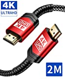 4K HDMI Kabel 2M, JSAUX HDMI 2.0 auf HDMI Kabel 4K@60Hz Highspeed 18Gbps Kompatibel für HD 1080P,...