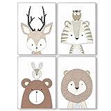 Pandawal Bilder Kinderzimmer Babyzimmer Waldtiere Deko grau Poster Set 4er Tiere für Kinder Junge I...