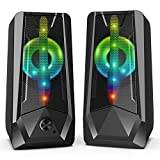 16W PC Lautsprecher Imdwimd Wired USB Lautsprecher für pcmit Buntem LED-Licht One Touch zum...