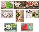 50 Glückwunschkarten Allgemeine Wünsche Blumen Herz 8 Motive Grußkarten 41-1950