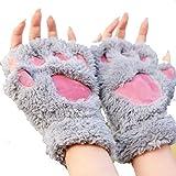 Bluelans Niedlich Pfote Plüsch Fingerlose Handschuhe Damenhandschuhe Winterhandschuhe (Grau)