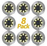 Solar Bodenleuchten, Vivibel 8 Stück 8 LEDs Solarleuchten Garten Solar Gartenleuchten Solarlampen...