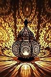 Orientalische Laterne aus Metall Ziva Schwarz 30cm | orientalisches Marokkanisches Windlicht...