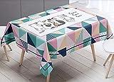bwaschbar Tischdecke Eckig Wasserdicht Stoff Tischtuch Geometrische Gitterkatze zurück Tischwäsche...