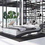 INNOCENT® - Hameni LED   160x200cm H3   Designer Boxspringbett in Weiss PU/Stoff Grau   Hotelbett...