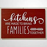 DONL9BAUER Holzschild Küchen-Wandbehang 'Kitchens Are Made To Bring Families Together' Wandbehang...
